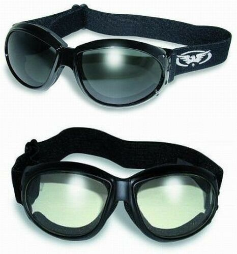 2 Motorcycle ATV Riding Foam Padded Goggles-Sun Glasses-SMOKED /& CLEAR Lenses