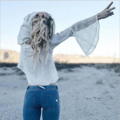 Le Donne Stretch Strappato Skinny Vita Alta Pantaloni Denim Jeans Pantaloni Slim Stretto LOTTO