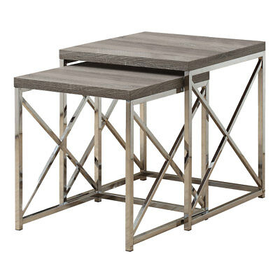 Monarch Specialties Contemporary Accent 2-Piece Nesting End Tables, Dark Taupe