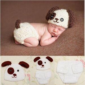 eb20b0a8aa1 Newborn Baby Boys Crochet Knit Costume Puppy Dog Hat Photography ...