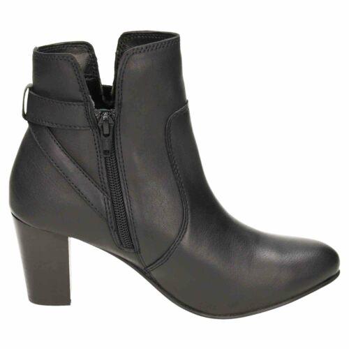 Comfort Plus de ancho de cuero de montaje e Botas al Tobillo Talón Mediados Bloque Cremallera Casual alta Black