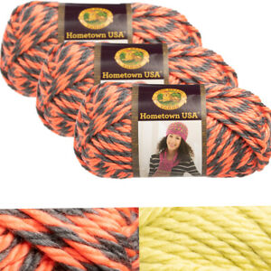3pk-Lion-Brand-Hometown-USA-100-Acrylic-Yarn-Super-Bulky-6-Knit-Crochet-Skeins