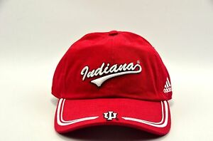Indiana-I-U-Hoosiers-Adidas-Crimson-with-White-lettering-Adjustable-Hat-NEW
