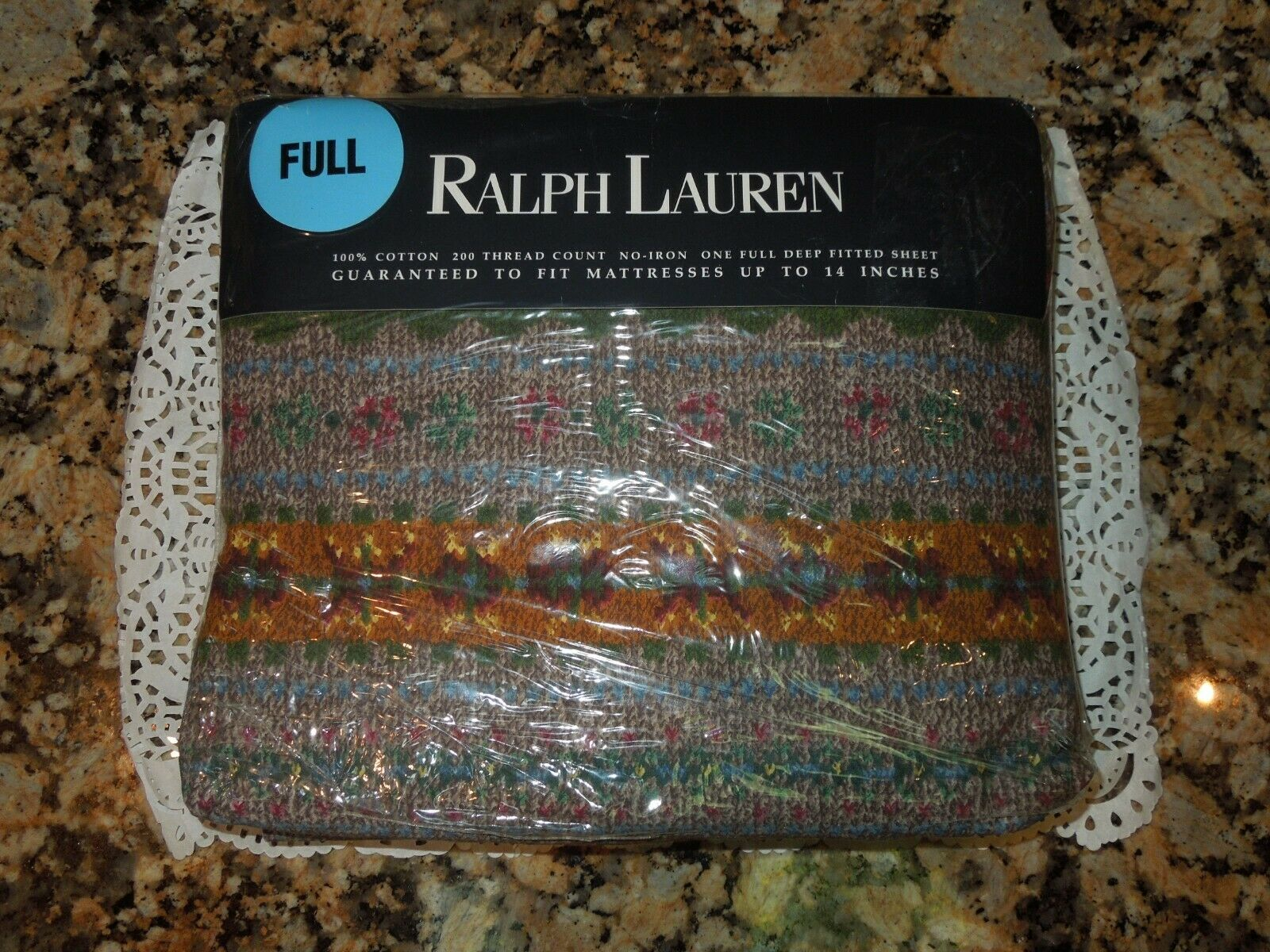 RALPH RALPH RALPH LAUREN LELAND FAIR MULTI FULL FITTED SHEET-NEW ecfbb9