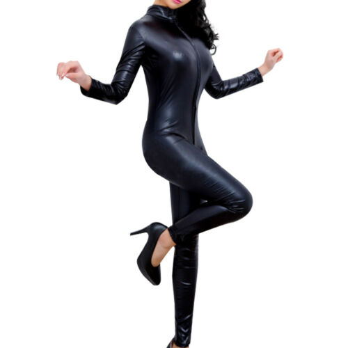 Nero ecopelle S Sexy in Tuta Look Wet xl Donna Catsuit Clubwear Tuta CXqqwF6znx