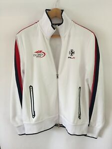 ae96a0e9 Details about RLX Tennis Track Jacket NYC Ralph Lauren White Red Navy Zip U  S Open Wimbledon