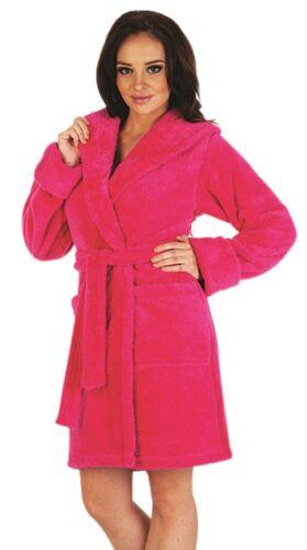 Womens Hooded Dressing Gown Short Length Housecoat Bathrobe