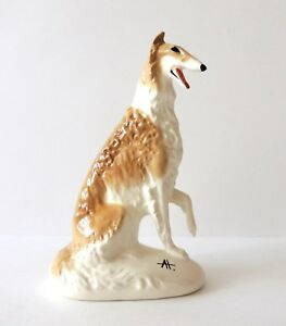 fast run Color Pale Yellow Author/'s Porcelain figurines Borzoi Russian graceful