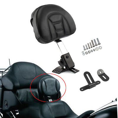 Black GDAUTO Adjustable Plug-in Driver Rider Backrest Kit for 1997-2017 Harley Touring