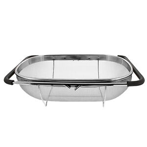 Image Is Loading Over The Sink Stainless Steel Oval Fine Mesh