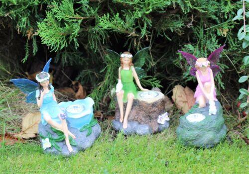 Triple Pack Décoration De Jardin Cadeau Outdoor Indoor Fairy Statue Spots solaires