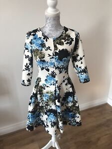 Primark-Atmosphere-White-Fit-And-Flare-Dress-With-Floral-Pattern-Size-8