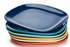 Sweese 154.003 Porcelain Round Dinner Plates Set of 6 Cool Assorted Colors 10 Inch
