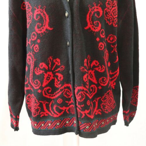 Black Virgin Floral Size Large Womens Crest Pendleton Red Cardigan Wool Euc 6Z4dSwqa