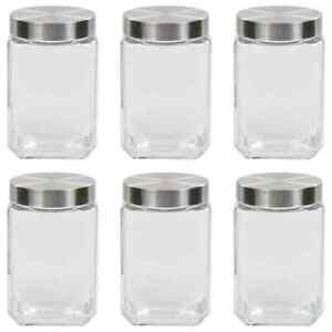 vidaXL-6x-Storage-Jars-with-Silver-Lid-1700ml-Storage-Preserving-Container