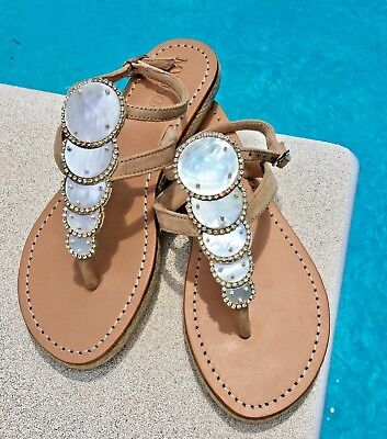 957efc4a3 MYSTIQUE 7 Jeweled Mother of Pearl Leather Thong Espadrille Ankle Strap  Sandals