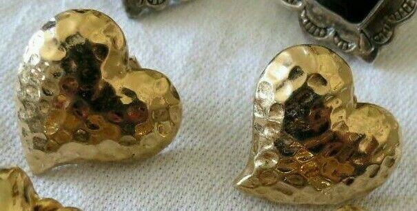 Vintage HEART Earrings HAMMERED button PIERCED JEWELRY  RETRO FASHION GOLDTONE