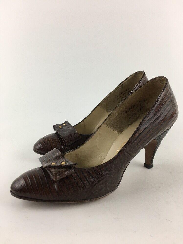 I Miller Vintage Woolf Brothers KC High Heel Pumps Braun Croc Leder Größe 6-7