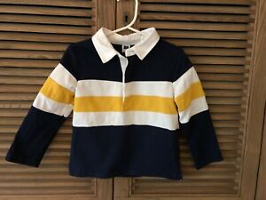 Janie-And-Jack-Polo-Rugby-Shirt-2T-Navy-Yellow-Long-Sleeved-WORN-ONCE
