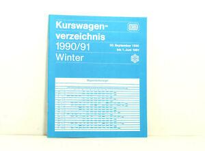 DB Kurswagenverzeichnis Winter 1990/1991 Wagenstandanzeiger