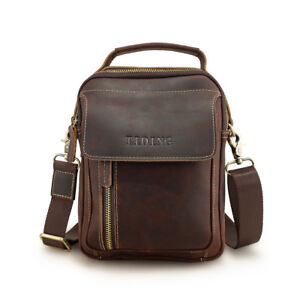 805559a3b8 Image is loading Vintage-Men-Leather-Shoulder-Bag-Office-Business-Messenger-