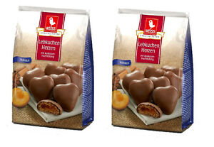 Weiss 2x 150g Vollmilch Lebkuchen Herzen gefüllt mit Aprikosenfüllu<wbr/>ng  300g