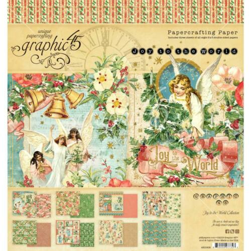 """Graphic 45 Joy to the World double-sided PAPER PAD 8/"""" 24//pkg motivo blocco 20,5 cm"""