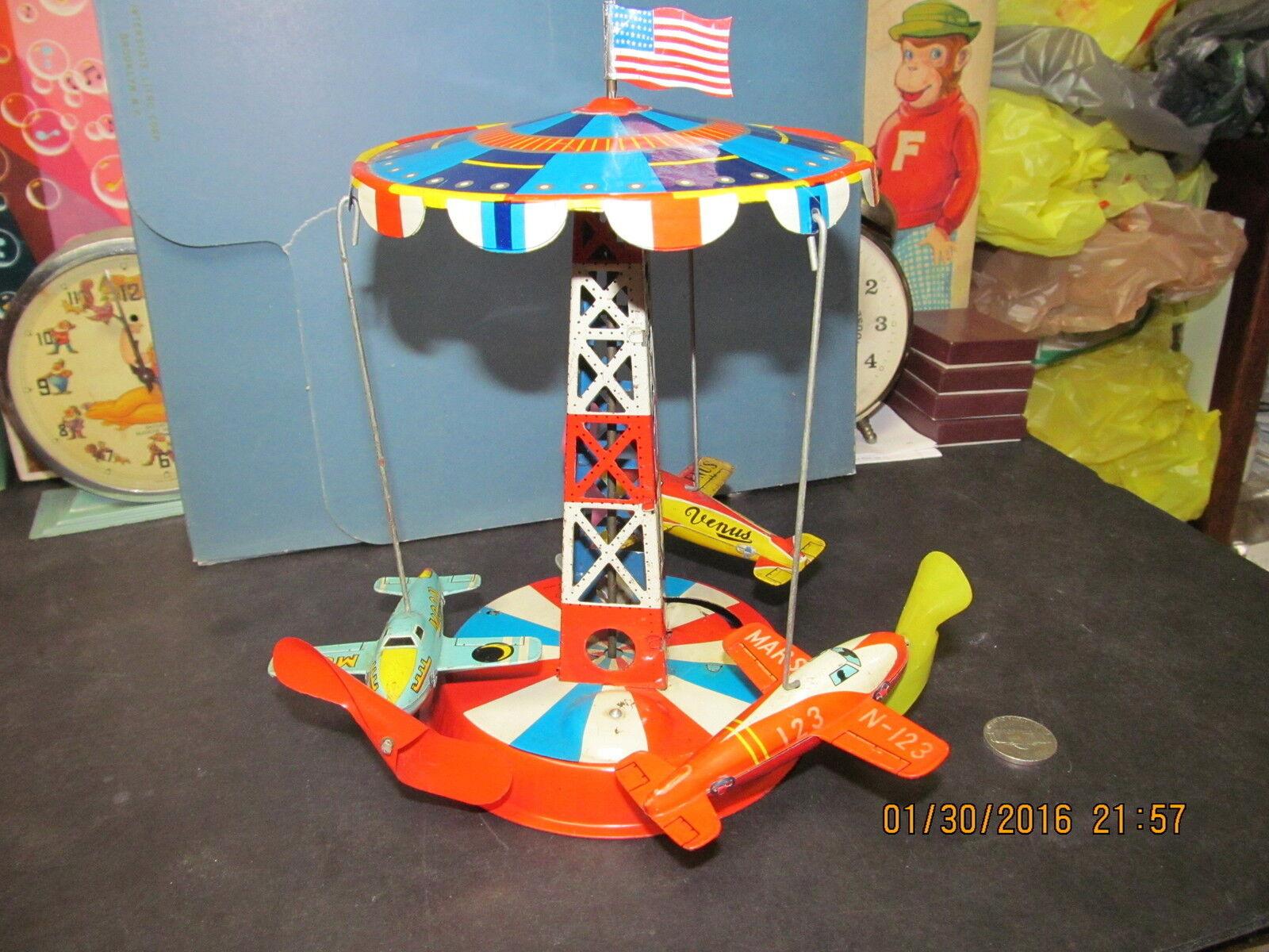 Torre de Control de Aire palanca acción de juguete de estaño con Marte, Venus & Luna aviones 50s-60s
