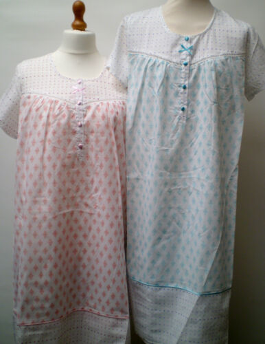 LADIES  2 XXL PLUS SIZE SHORT SLEEVE COTTON MIX   NIGHTIES  NIGHTWEAR
