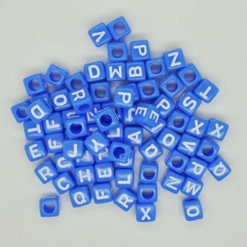 100 X 6mm mixtas letras del alfabeto Pony grano de cubo blanco Bebé Rosa Azul Clip ficticio