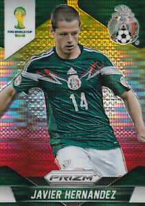 Panini prizm fifa world cup 2014 JAVIER HERNANDEZ MEXIQUE yello red pulsar