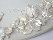 15X12mm Baroque white Reborn Keshi pearls necklace