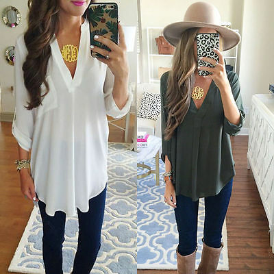Women Summer Long Sleeve Sexy V-Neck Casual Loose Chiffon Blouse Plus Size