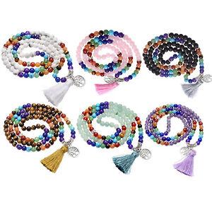 Women 7 Chakra Multi-layer Buddha Bracelet 108 Beads Prayer Tassel Mala Necklace
