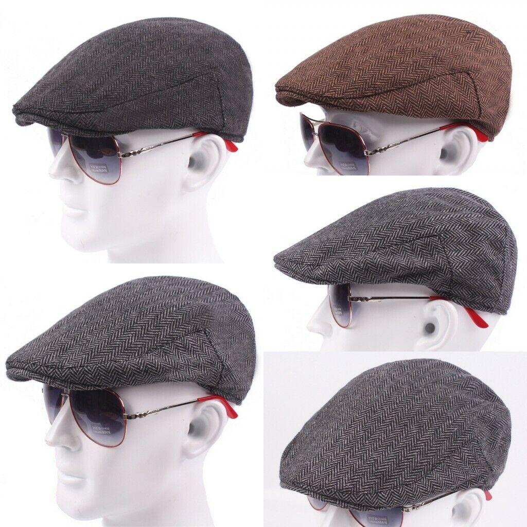 Mens Flatcap Schlägermütze Tweed Herringbone Schiebermütze Gatsby Ivy Mütze