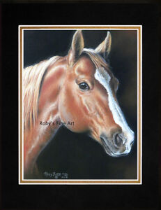 Matted-Quarter-Horse-5-034-x7-034-Print-034-Quarter-Horse-034-Giclee-by-Artist-Roby-Baer-PSA