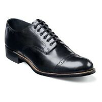 Original Stacy Adams Biscuit Toe Mens Shoes Black Leather Madison Cap Toe 00012