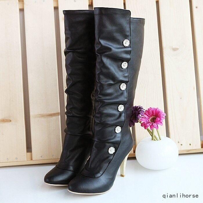 Hot Women Round Toe Stilettos Heels Knee High Boots Fashion Warm PU Riding shoes
