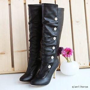 Hot-femmes-bout-rond-talons-aiguilles-Talons-Bottes-Hautes-Fashion-Warm-polyurethane-Equitation