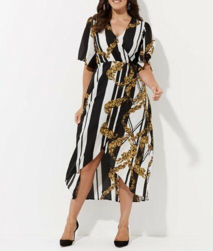 Crossroads Hi-Lo Hem Chain /& Stripe Print-Flutter Short Sleeves Size 16
