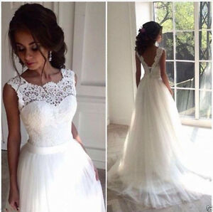 6810b7fb850a New Lace Pure White/Ivory Wedding Dress Elegant Backless Bridal Gown ...