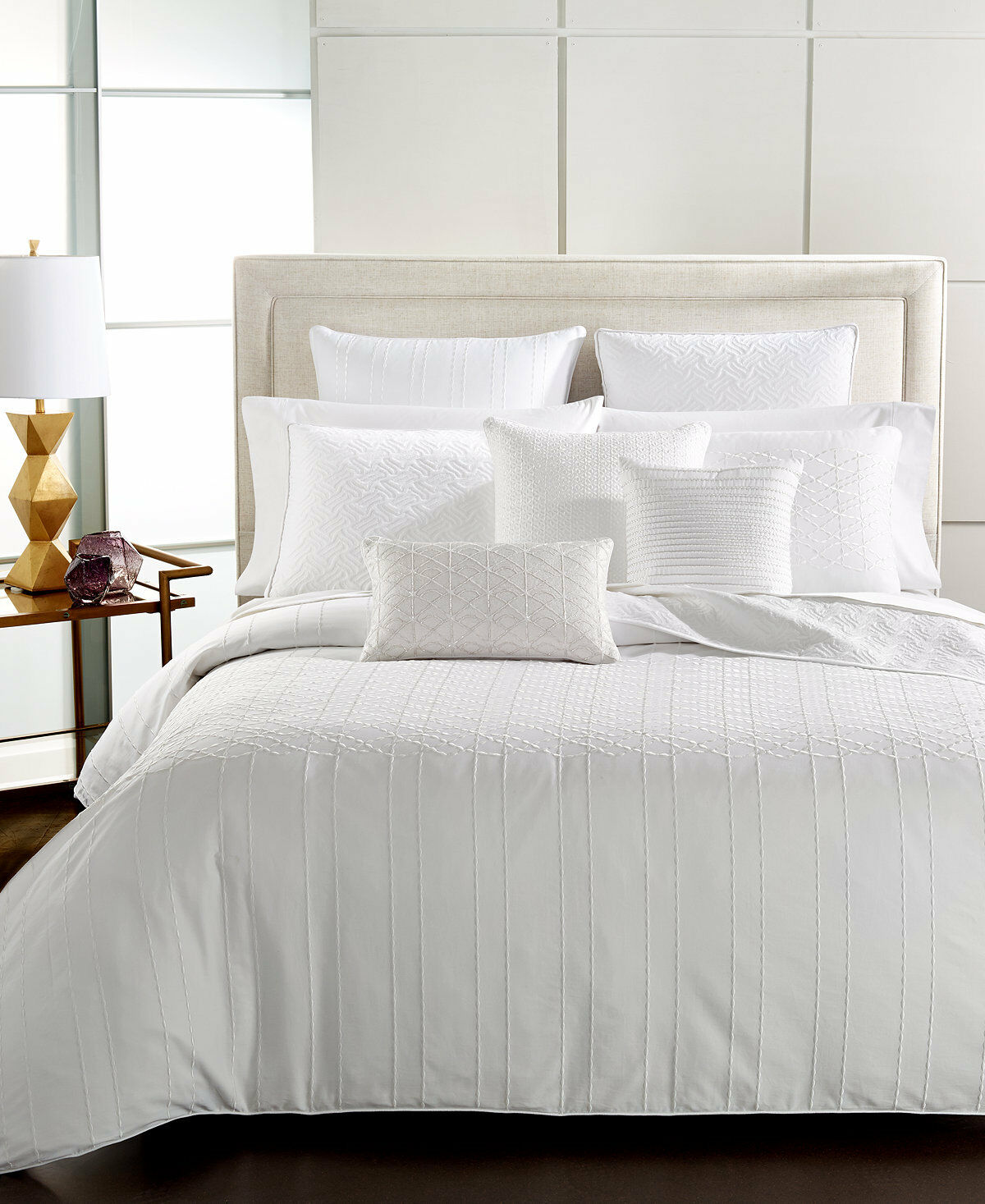 Hotel Collection Sonnet Embroidered Cotton KING Sham WHITE Bedding  135 C899