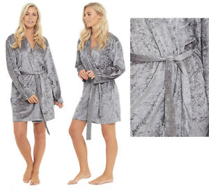 Ladies Kimono Dressing Gown Crush Velvet Sexy Wrap Velour Grey