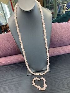 "Bohemian Rose Quartz Stone Pink beaded necklace Chip 34"" Bracelet Set"
