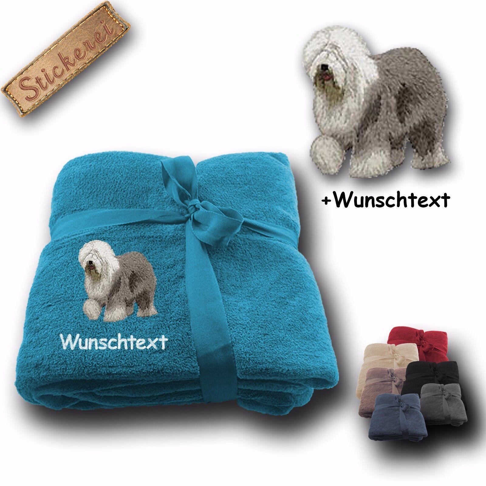 Flauschige Kuscheldecke Decke Hund Bobtail +Wunschtext Stickerei 180x130cm