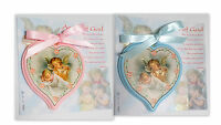 Italian Heart Shaped Wood Crib Medal 3.5 Guardian Angel/baby Pick Pink Or Blue