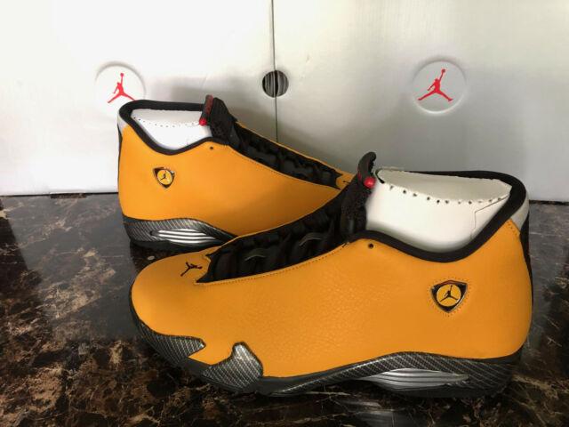 pretty nice 7459b a4e44 Nike Air Jordan Retro 14 Reverse Ferrari Gold Black Bq3685-706 Size 13