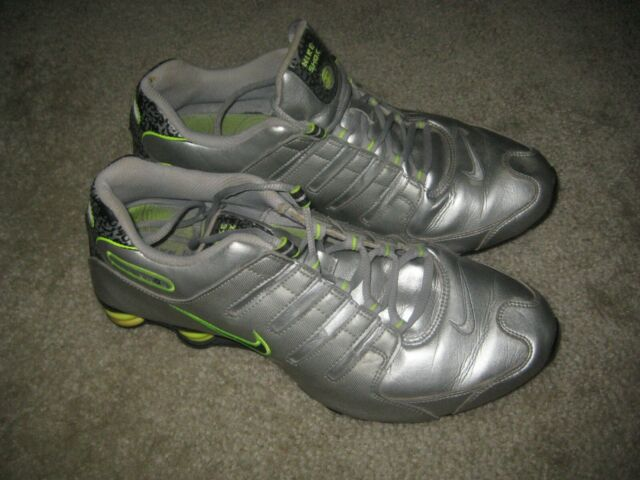 Nike Shox NZ Premium Shoes 378341 015 VJ1 Silver Black Green Sz 11.5