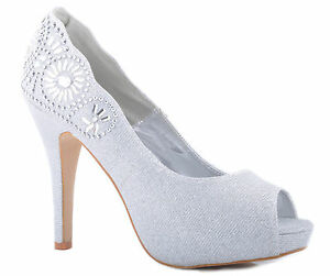 d3f5c3c484839 Details about Silver Glitter Peep-Toe Platform High Heels Diamante Detail  Wedding Shoes Bridal