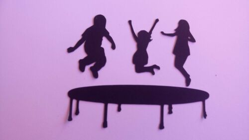 4 TRAMPOLINES WITH 12 CHILDREN GYMNASTICS SILHOUETTES TOPPERS  job lot